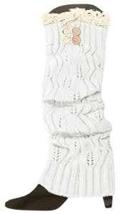 White Sweater Knitted Lace Top Button Down Leg Warmer Boot Socks Boot Topper