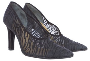 Saint Laurent Sheer Zebra Animal Print Lae Leather Suede Designer Italian Black Pumps