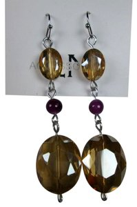 Beautiful gold and purple glass earrings