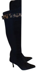 Stuart Weitzman Leopard Knee-high Black Suede Stiletto Black Leopard Boots