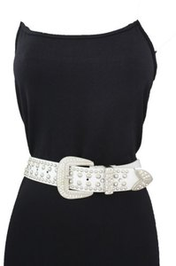 Women White Western Fashion Belt Classic Metal Buckle Silver Beads Studs