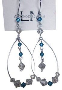Beautiful clear crystal and light blue swarovski chandelier earrings