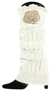 Other White Sweater Knit Lace Top Flower Accent Leg Warmer Boot Socks Topper