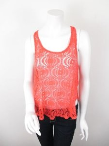Ecote Urban Outfitters Knit Lace Stretch Blouse Shirt Top Coral