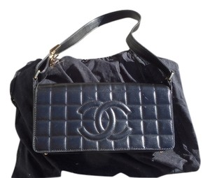 Chanel Casual Formal Quilted Cc Logo Vintage Black Clutch