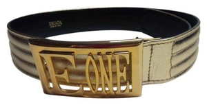"Escada ESCADA Gold Leather ""Quilt"" Belt with Gold Hardware Logo Buckle"