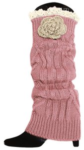 Other Dusty Rose Knitted Lace Flower Accent Leg Warmer Boot Socks Topper