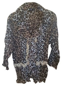 Leopard Ruffles Lace Top Brown Tan