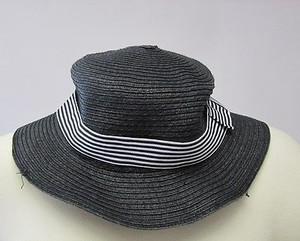 $$$ Girls Fashion Black Woven Brim Hat With Black Striped Ribbon