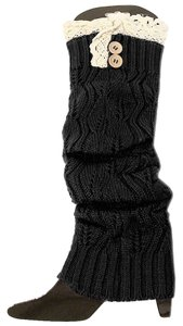 Other Black Knitted Lace Top Button Accent Leg Warmer Boot Socks Boot Topper