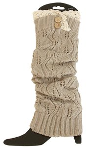 Camel Knitted Lace Top Button Accent Leg Warmer Boot Socks Boot Topper