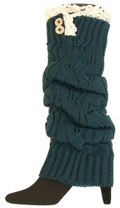 Teal Green Knitted Lace Top Button Accent Leg Warmer Boot Socks Boot Topper