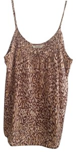 Tucker Smocked Silk Cami Top Leopard Print