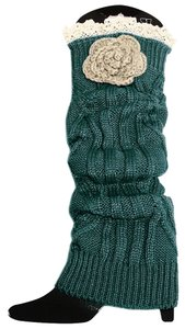 Other Green Knitted Lace Top Flower Accent Leg Warmer Boot Socks Boot Topper