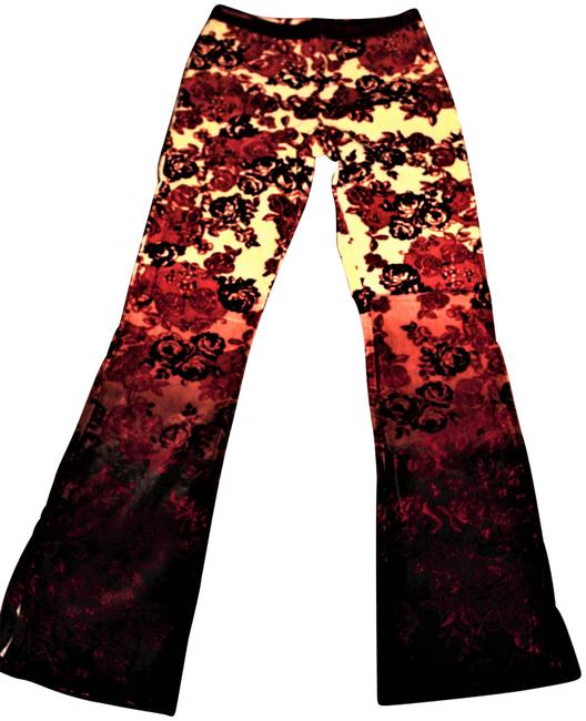 Item - Red and Velvet Floral Long Flare New Godcloth Collection Victorian High Rise Nwot Pant Suit Size 4 (S)
