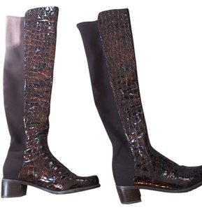 Stuart Weitzman Over The Knee Patent Leather Burgundy Boots