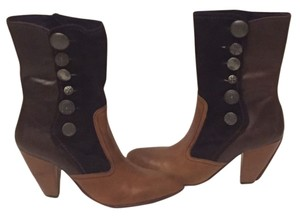 True Religion Mid Calf Two-tone Buttons Boots
