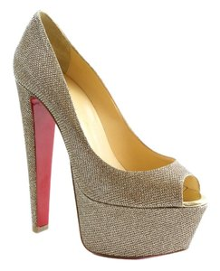 Christian Louboutin Altavera Crystal Embellished Leather Peep-toe Pumps Altavera Pumps Pumps Pumps Gold Platforms