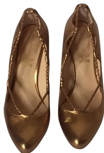 Modern Vintage Braided Gold Gold Wood Heel Pumps