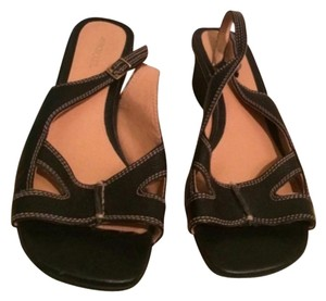Aerosoles Wedge Leather Black Sandals