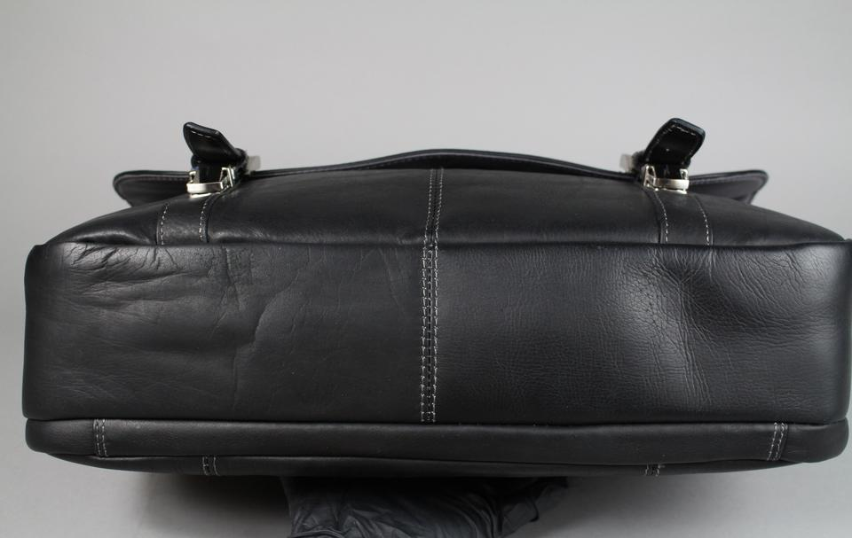 Kenneth Cole Reaction Show Business Colombian Flapover Case Black Leather Laptop Bag Tradesy