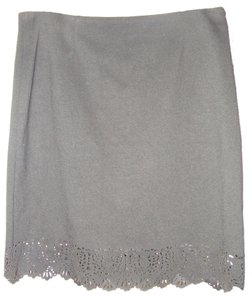 Laundry by Shelli Segal Pencil Cut-out Laser Cut Jersey Scalloped Mini Skirt Black