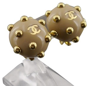 Chanel Authentic CHANEL Vintage CC Logos Plastic Earrings Beige Clip-On France