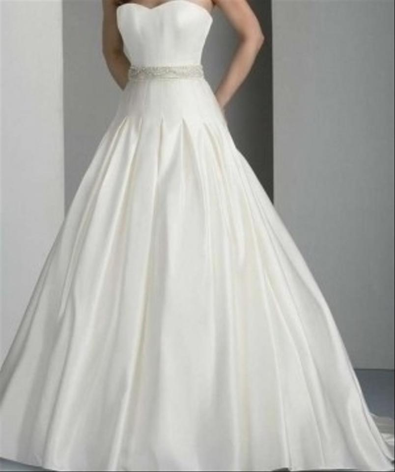 Oleg cassini davids bridal satin ball gown with dropped for Wedding dress designer oleg cassini