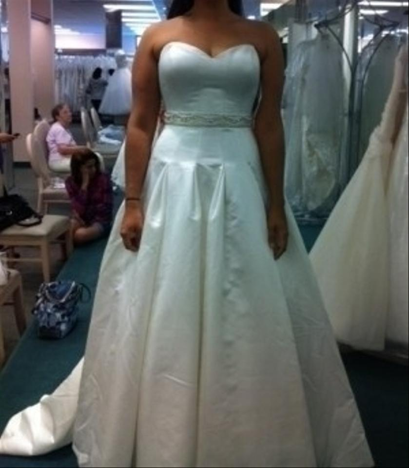 Oleg Cassini Ivory Satin Davids Bridal Ball Gown with Dropped Waist ...