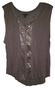 American Eagle Outfitters Sequin Button Down Shirt Grey