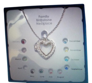 NIB Necklace Family Birthstone Heart Locket heart love necklace charms inside GREAT GIFT ITEM