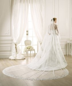 Pronovias Soft Tulle French Lace Veil