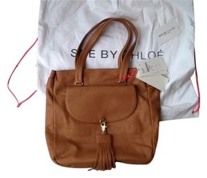 See by Chloé Chloe Front Flap Tassel Accent Biscuit Leather Shoulder Bag
