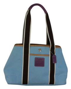 Coach Tote in Light Blue and Brown