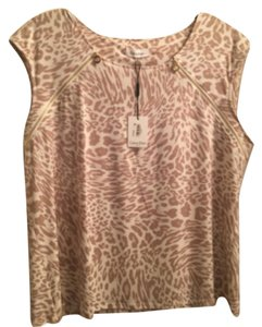 Calvin Klein animal print top with zipper detail on neck Top