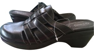 Dr. Scholl's Genuine Leather Wedge BLACK Mules
