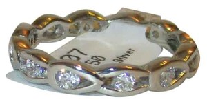 Genuine 925 Sterling Silver Simulated Diamond Fancy Band Ring Sizes 5 6 7 8 9 10