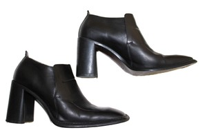 CoSTUME NATIONAL Square Toe Leather Slip On Black Pumps