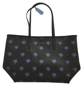 Coach Tote in Black With Blue Stars