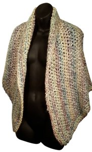 SensationWear Lovely Vintage Soft Acrylic Hand Knitted Shawl, Cape, Poncho or Lap Blanket in Shades of Muted Teal, Lilac, Cream, Moss green, and Rose