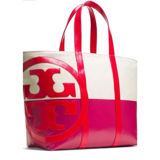 Item - Dipped Beach Natural Red Magenta Canvas Tote