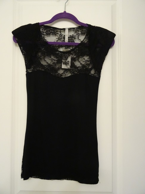 PRJCT Lace Party Open Sweetheart Top Black