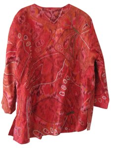 Chico's Ikat; Silk; Red Jacket