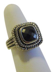 Other Black Onyx Color Textured Silvertone Ring Size 9