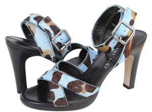 Gianni Bini Calf Hair Ankle Strap Brazil Blue Leopard Print Sandals