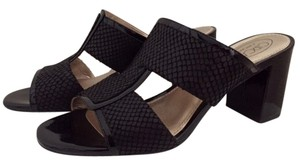 Circa Joan & David Leather Open Toe black Sandals