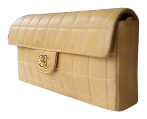 44ed1b297a18 Chanel East West Vintage Classic Flap Lambskin Shoulder Beige Clutch. Chanel  East West Butterscotch Lambskin Baguette Chocolate Bar ...