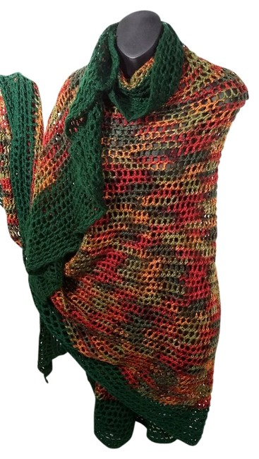 Green Cinnamon Avocado Brown Wine Large Oversize Loosely Crocheted Knitted Wool Blended Cape Shawl Blanket Throw Scarf/Wrap Green Cinnamon Avocado Brown Wine Large Oversize Loosely Crocheted Knitted Wool Blended Cape Shawl Blanket Throw Scarf/Wrap Image 1