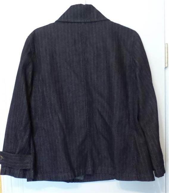 Ralph Lauren Peacoat Pea Coat Large Dark blue denim w/ red pinstripe Jacket