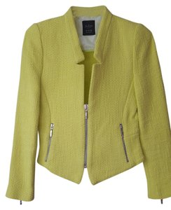 Zara Yellow Neon Blazer Tweed Neon Yellow Jacket